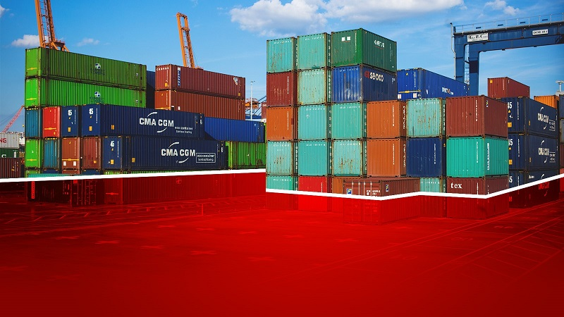 Red-Container Powerpoint background template